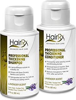 HairRx Professional Thickening Shampoo & Conditioner Travel Set, Luxurious Lather, Lavender Scent, 2 Ounce Bottles