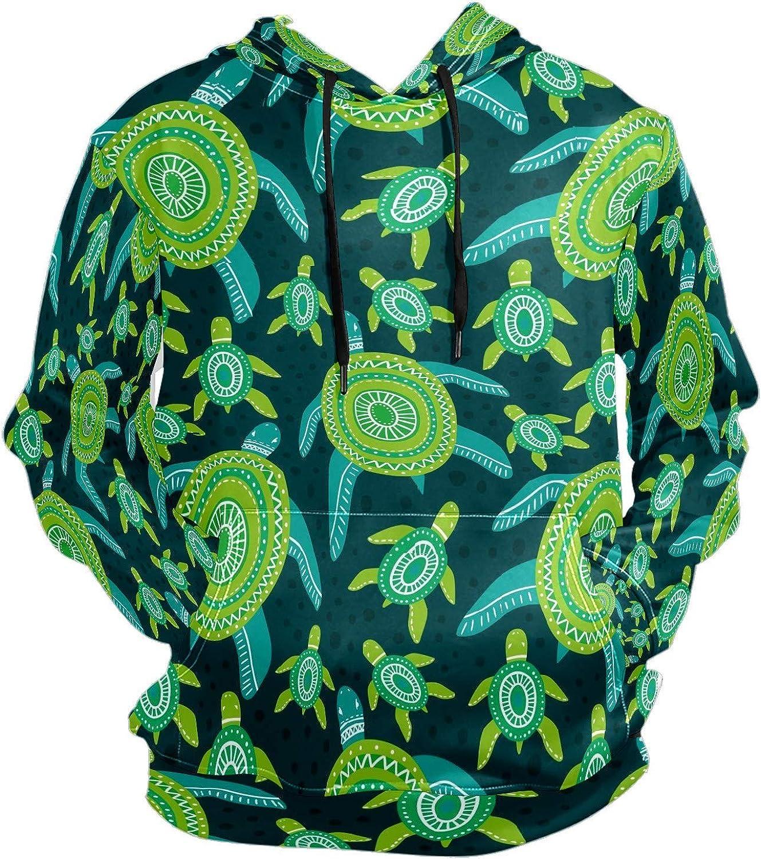 Men's Sport Hoodie Seaweed Sea Turtle Abstract Green Big and Tall Hoodies for Men Women Oversized Hooded Sweatshirt Hip Hop Pullover Hoodie Midweight Hood for Boys Girls