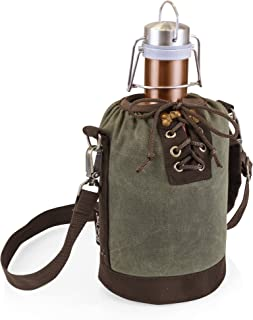 LEGACY - a Picnic Time Brand Stainless Steel Growler with Copper Finish and Khaki Green Canvas Lace up Growler Tote, 64-Ounce