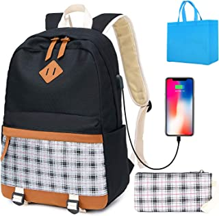 Canvas Laptop Backpacks, Bling Fashion Backpack Womens College School Backpack Fits 15.6 inch Laptop Travel Daypack with USB Charging(Silver)