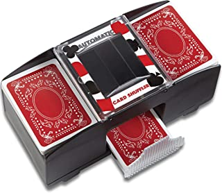 Wembley Electronic Card Shuffler with 2 Decks of Playing Cards, Shuffles Quick, Play Like a Pro, Battery Operated for Portability and Travel, Perfect for Poker and Blackjack, Push-Button Simple, Deal