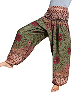 Full Funk Smocked Waist Rayon Aladdin Pants With Floral Fractal Art