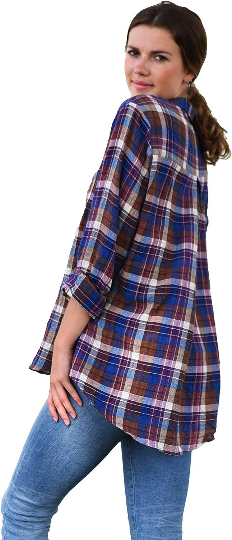 Women Long Sleeve Summer Shirt, Oversized Plaid Button Down Shirt, Lightweight Cotton Blouse