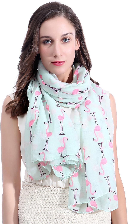Lina & Lily Flamingos Print Large Scarf Shawl Lightweight