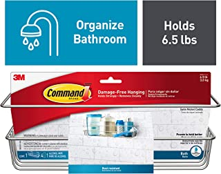 Command FBA_BATH31-SN-ES Shower, Satin Nickel, 1-Caddy, 1-Prep Wipe, 4-Large Water-Resistant Strips (BATH31-SN-ES), 1