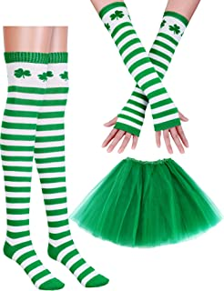 St. Patrick's Day Costume Accessories Set Women Girl Party Accessory (1 Pair Arm Warmers, 1 Pair Socks, 1 Piece Skirt)