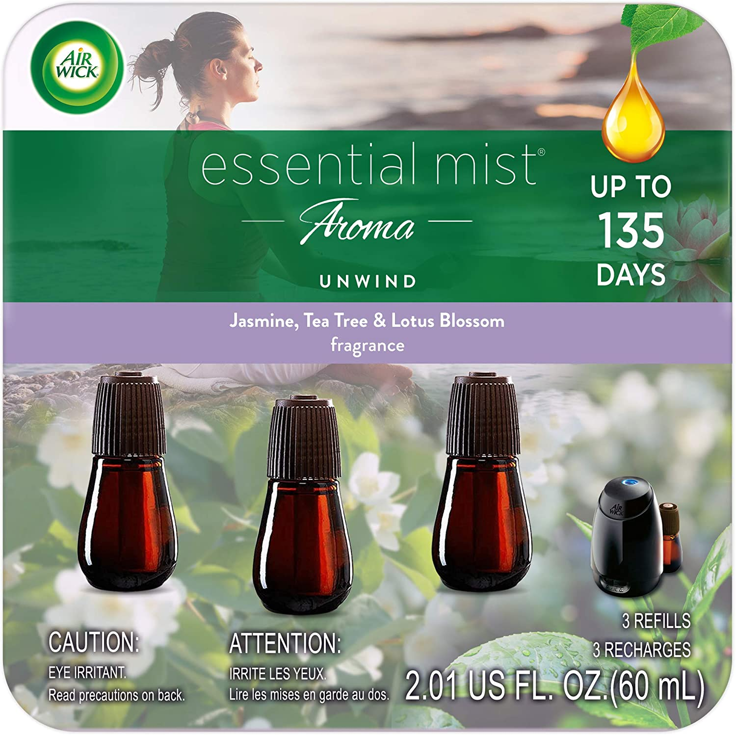 Air Wick Essential Mist Refill Freshener Essential Oils Diffuser Aromatherapy, Unwind, 3 Count