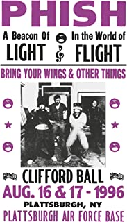 "Per Diem Printing Phish – Clifford Ball – Plattsburgh Air Force Base - 13""x22"" Vintage Style Showprint Poster - Home Nostalgia Decor – Wall Art Print - Concert Bill"