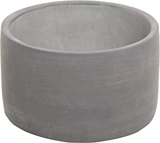 Modern 5-Inch Round Indoor Gray Cement Flower Planter Pot/Outdoor Succulent & Cactus Plant Container