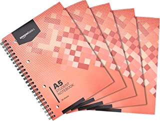 Amazon Basics Student Notebook 160 Pages, A5, 70GSM, [5-Pack]
