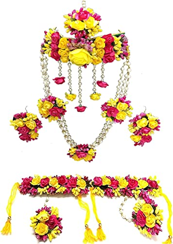12SEASONS Yellow and Pink Fabric Flower Jewellery Necklace 2 with Maang Tika and Earrings Bracelets for Women Girls Set of 7 Pc