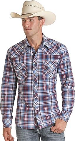 Long Sleeve Yarn-Dye Plaid Snap Shirt B2S5082