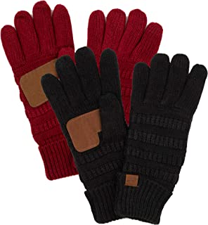 Funky Junque's CC Beanie Matching Winter Fleece Lined Knit Touchscreen Texting Gloves