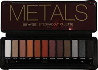 BYS Metals Eyeshadow Palette Tin with Mirror & Dual Applicator 12 Metallic Shades