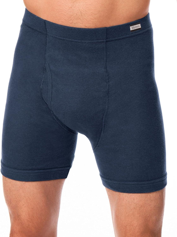 Hanes Comfort Soft Waist Band Boxer Briefs 4-Pack, Assorted Blue