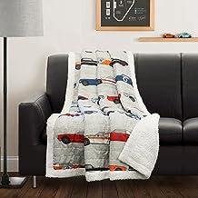 بطانية أريكة شيربا ديكور فاخرة من شركة لوش ديكور، 152.4 سم × 127 سم، أزرق وبرتقالي