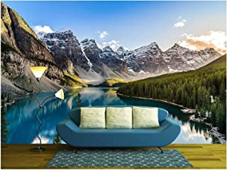 wall26 - Landscape View of Moraine Lake and Mountain Range at Sunset in Canadian Rocky Mountains - Removable Wall Mural | Self-Adhesive Large Wallpaper - 66x96 inches