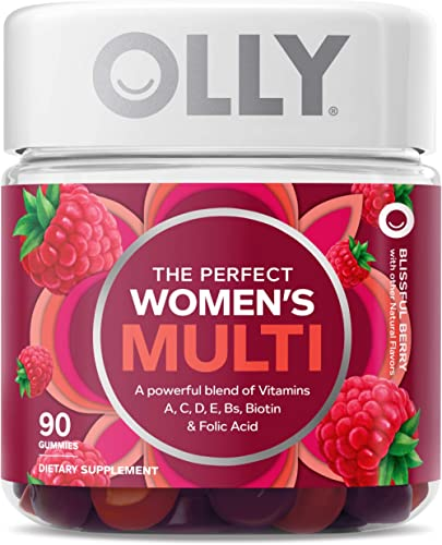OLLY Perfect Womens Multi-Vitamin Gummy Supplements, Blissful Berry, 90 Count