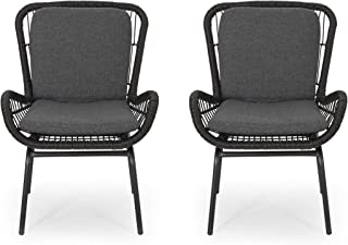 Alice Outdoor Wicker Club Chair with Cushions (Set of 2), Gray and Dark Gray