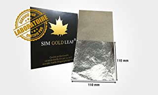 Professional Quality Genuine Edible Silver Leaf Sheets, 25 Sheets, Super Large 4-2/5 inches (Loose Leaf/Interleaf Sheets)