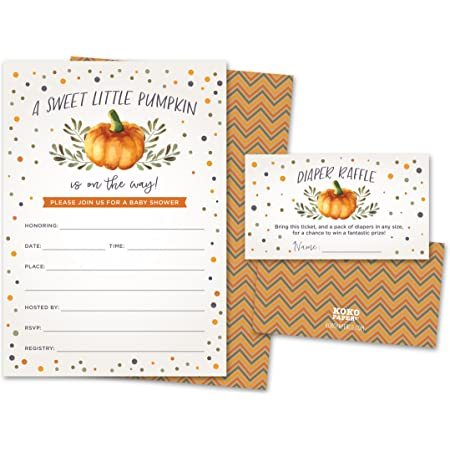 Pink 20 Folding Notes FREE Shipping Orange Little Pumpkin Gold Stripes Glitter Boy Sprinkle Girl Baby Shower Thank You Card