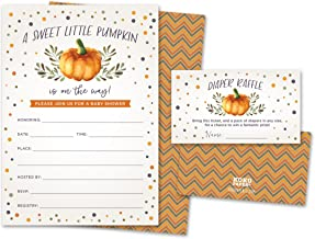 Sweet Little Pumpkin on The Way Rustic Fall Baby Shower Invitations and Diaper Raffle Tickets in Autumn Colors, Fall Leave...