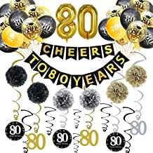 Trgowaul 80th Birthday Party Decorations Kit- Gold Glittery Cheers to 80 Years Banner, Poms, 12Pcs Sparkling 80 Hanging Swirl, 1 Gold Number Balloon and 15 Confetti Balloons(Black, Golden) for 80th Anniversary Decorations 80 Years Old Party Supplies