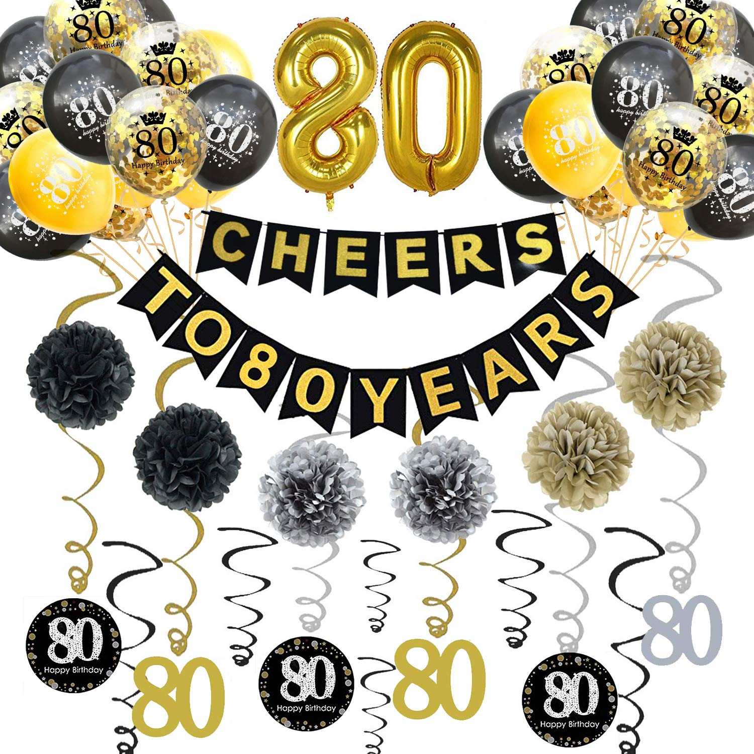 Trgowaul 8th Birthday Party Decorations Kit- Gold Glittery Cheers to 8  Years Banner, Poms, 8Pcs Sparkling 8 Hanging Swirl, 8 Gold Number Balloon
