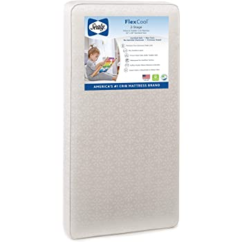 "Sealy Baby Flex Cool 2-Stage Airy Dual Firmness Waterproof Standard Toddler & Baby Crib Mattress, 51.7""x 27.3"""