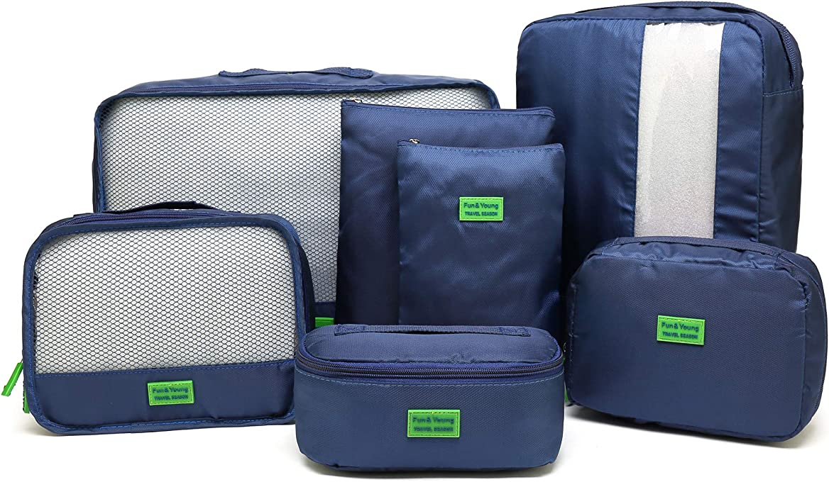 Kroeus 7set Packing Cubes Travel Luggage Organizer Compression Pouches Navy Blue