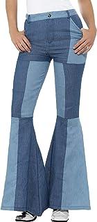 Smiffys-21476L Pantalones acampanados deluxe, para mujer, retales vaqueros, color azul, L-EU Tamaño 44-46 (Smiffy's 21476L) , color/modelo surtido
