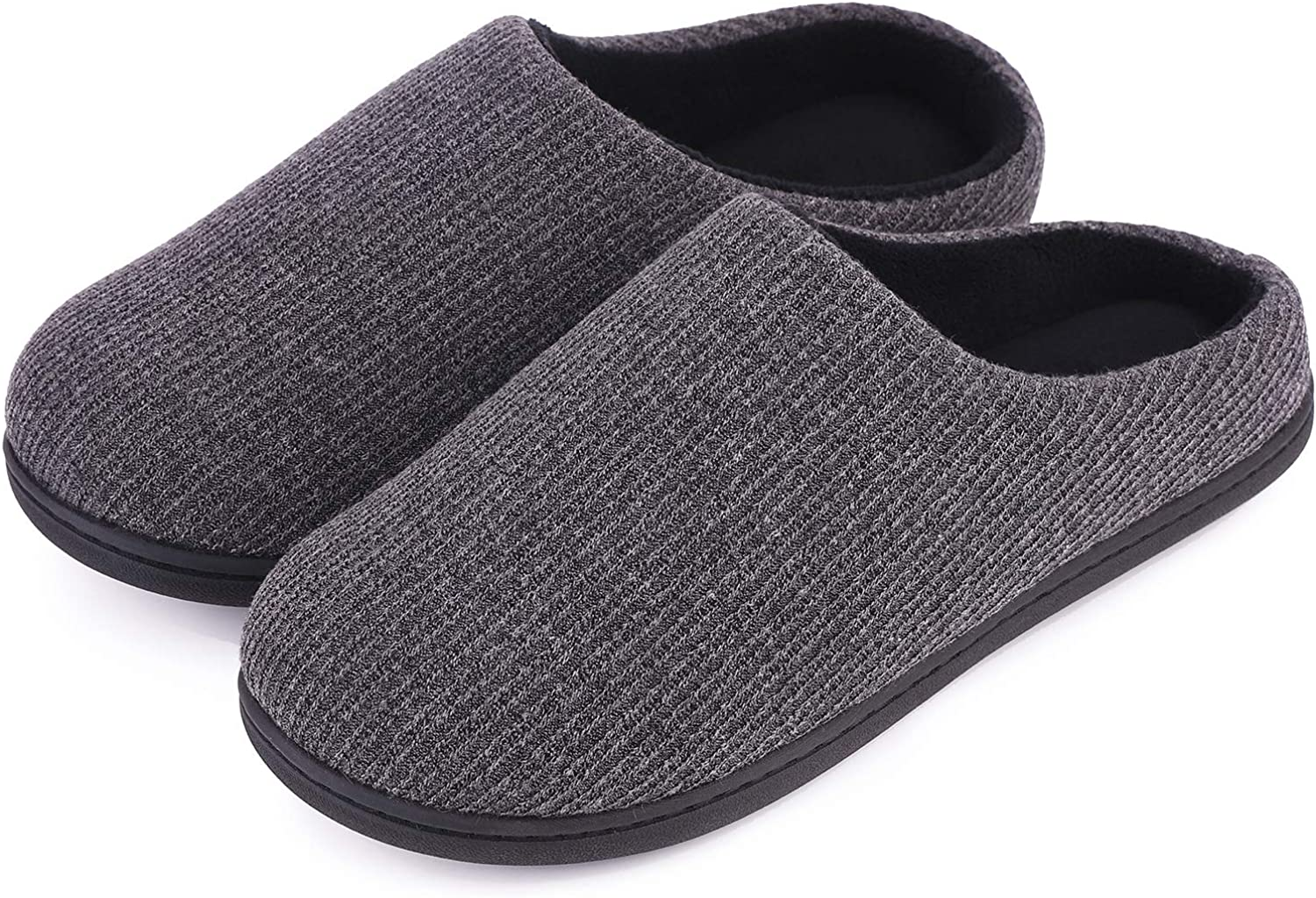 Women's Comfort Memory Foam Cable Knit Slippers Terry Cloth House Slippers w Non-Slip Sole