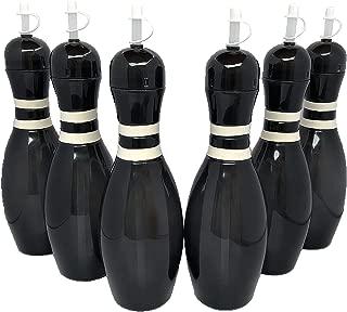Large Bowling Pin Water Bottles Black - 6 Pack
