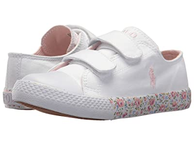 Polo Ralph Lauren Kids Slone EZ (Little Kid) (White Canvas/Light Pink Pony Player/Printed Floral Foxing) Girl