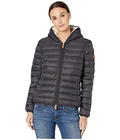 Save the Duck Giga 9 Hoodie Puffer Jacket with Sherpa Lining (Black) Women