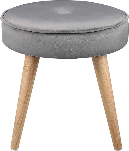 Ribelli Hocker mit 4 Beinen – ca. Ø 40 cm – Extra Dicke Sitzstärke: ca. 8,5 cm – bis zu 120 kg belastbar – Sitzhocker (grau)