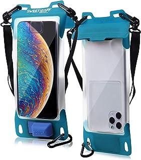 防水ケース【 スマホ用 iPhone12 Pro Max mini iPhoneSE XR XS MAX 8Plus 】Sweetleaff エアポンプ搭載 Face ID 対応 携帯ケース IPX8 完全防水 (ブルー)