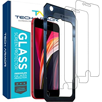 Tech Armor Premium Ballistic Tempered Glass Screen Protector for Apple iPhone SE 2020, iPhone 8 and iPhone 7 - with 99.99% HD Clarity and 3D Touch Accuracy, Clear [3 Pack]