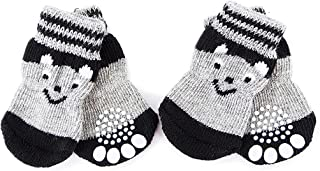 Anti-Slip Dog Socks with Smiley face Pattern - Pet Adjustable Paw Protection for Puppy Indoor Traction Wear on Hardwood Floor (4PCS,Gray Black)