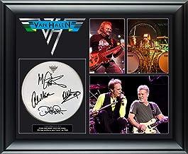 Van Halen Autographed Drumhead Framed Photo Display Eddie Plus