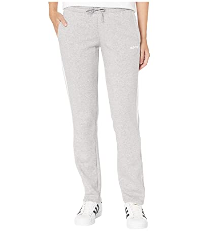 adidas Essential 3-Stripes Fleece Open Hem Pants (Medium Grey Heather/White) Women