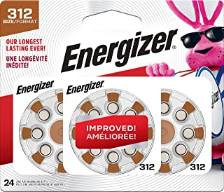 Energizer AZ312DP-24 Size 312 EZ Turn and Lock Hearing Aid Battery, 24-Pack
