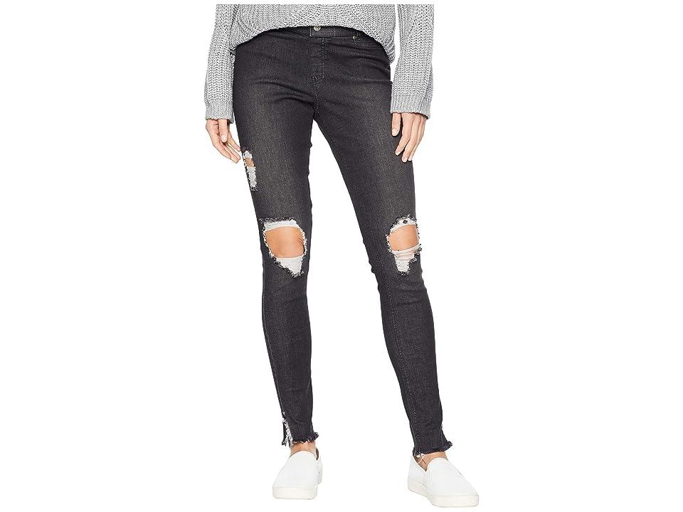 HUE Ripped Ankle Slit Denim Leggings (Black Wash) Women