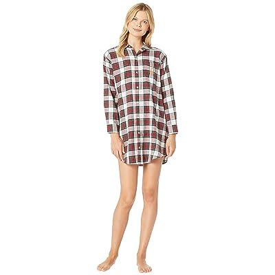 LAUREN Ralph Lauren Brushed Twill His Shirt Sleepshirt (Ivory Plaid) Women