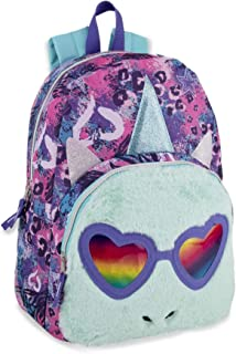 Kids Unicorn Backpack - 17 Inch Purple Rainbow Shades Unicorn with Plush Front Pocket