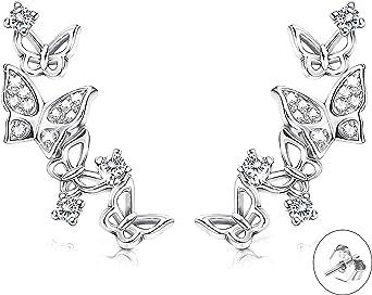 Fansilver Pendientes de tuerca de plata de ley S925 con mariposa 3D para mujer con circonita cúbica
