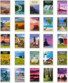US STATE TRAVEL POSTERS Set of 50 postcards. United States vintage style poster post cards variety pack. Made in USA.