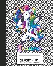 Calligraphy Paper: LAURA Unicorn Rainbow Notebook (Weezag Calligraphy Paper Notebook)