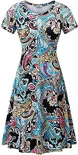 HUHOT Women Short Sleeve Round Neck Summer Casual Flared Midi Dress
