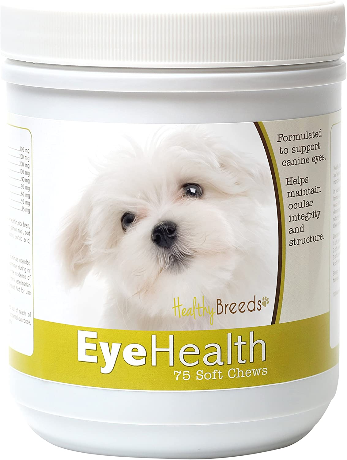 Healthy Breeds Dog Eye Care Support for Maltese – Over 80 Breeds – Ocular Strength Soft Chew Supplement – 75 Count